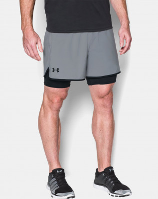 UA QUALIFIER 2-IN-1 SHORT-GRY