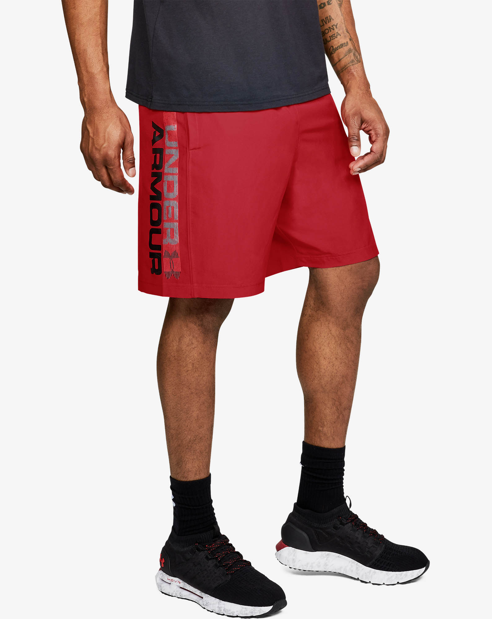 Woven Graphic Wordmark Short-RED