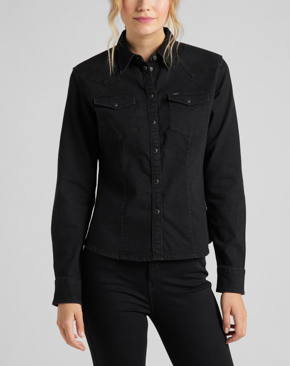 detail SLIM WESTERN SHIRT BLACK