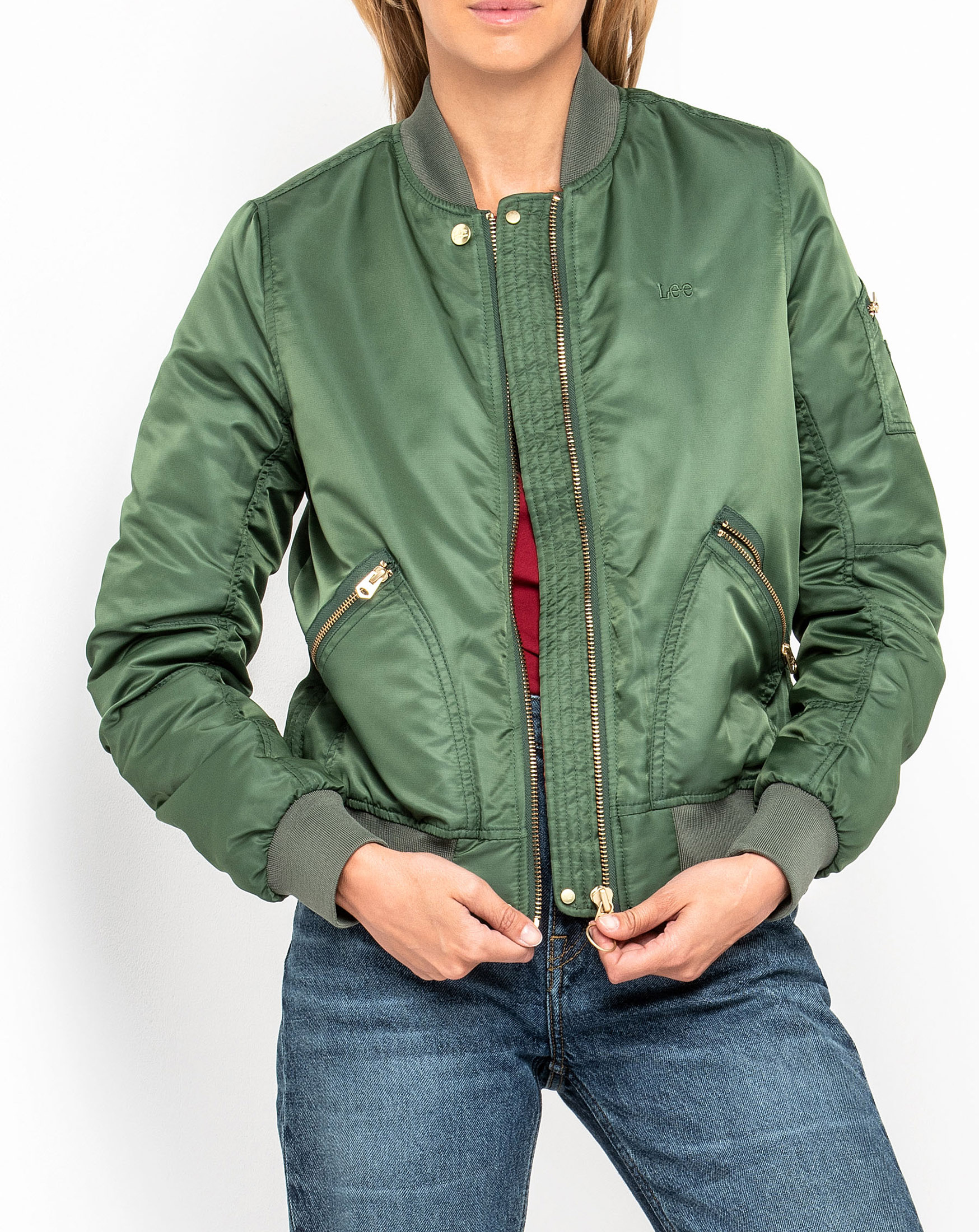 SATEEN BOMBER NEW ARMY GREEN