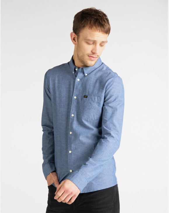 detail SLIM BUTTON DOWN WASHED BLUE