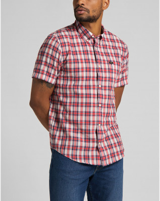 LEE BUTTON DOWN SS AURORA RED