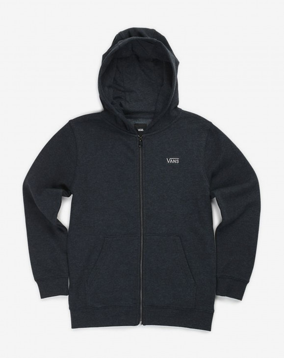detail B CORE BASIC ZIP HOO BLACK HEATHER