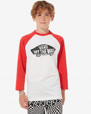 OTW RAGLAN BOYS WHITE-RACING RED