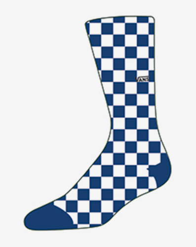 MN CHECKERBOARD CREW TRUE BLUE/WH