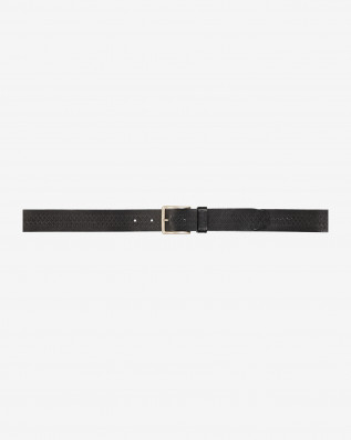 WOVEN PATTERN BELT BLACK