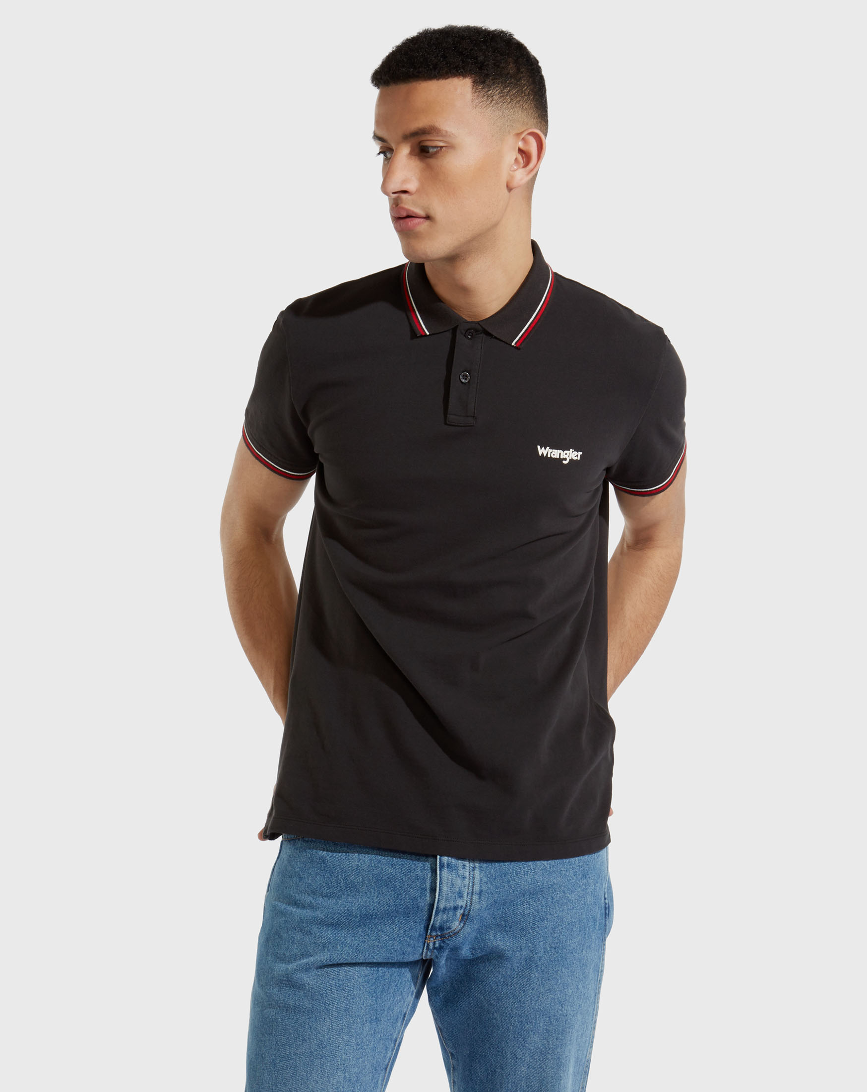 detail PIQUE POLO FADED BLACK