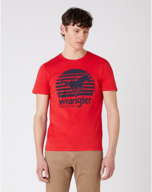 detail SS HORSE TEE MARS RED